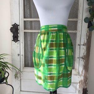 Vintage Green Plaid Tie Waist Apron S/M